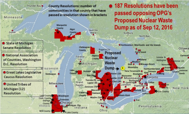 A map of the local resolutions opposing the proposed nuclear waste dump - COURTESY STOP THE GREAT LAKES NUCLEAR DUMP