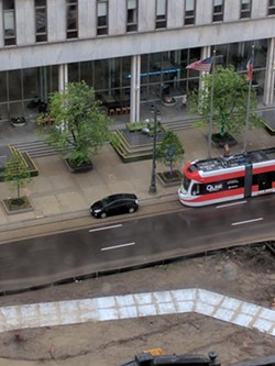 An illegally parked car delays the QLine during testing. - COURTESY SCOTT (TOADEN) MAIALE
