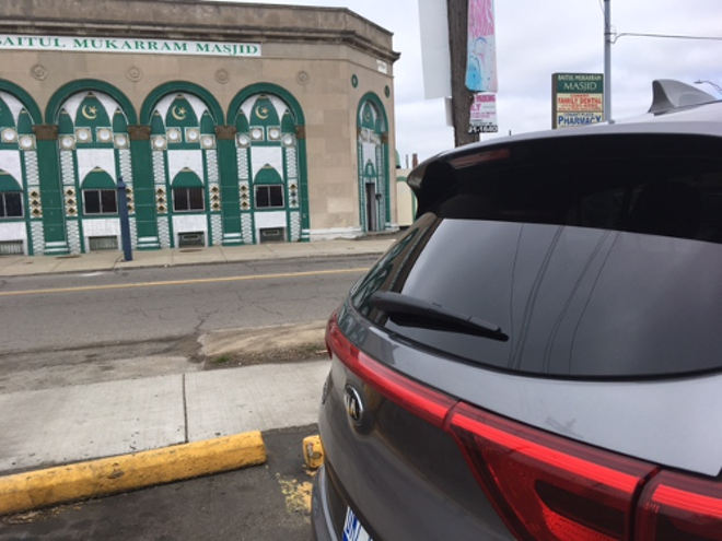 Photo of Kia outside Baitul Mukarram Masjid at Carpenter and Conant. - PHOTO BY MAUREEN MCDONALD FROM AUTO CHANNEL REVIEW