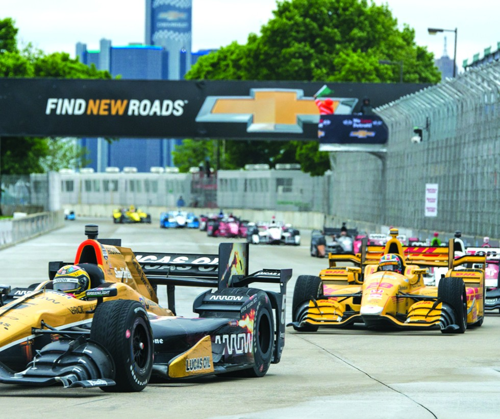 Cars race at the Belle Isle Grand Prix in 2016. - MIKE FERDINANDE