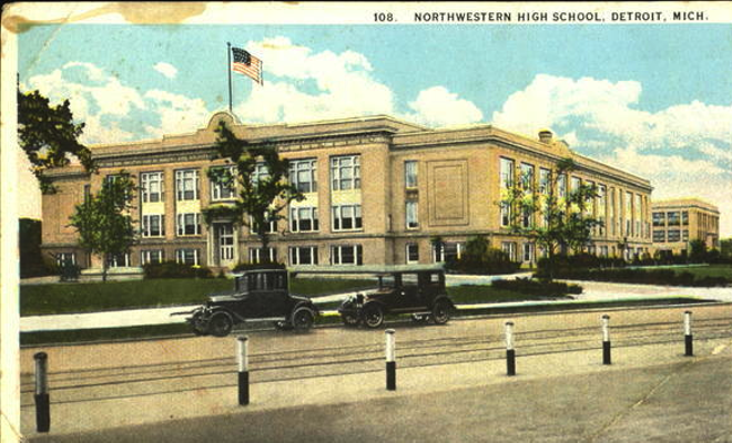 "Writer Herb Boyd has called Detroit's Northwestern High an ""assembly line"" for producing sports greats. - HISTORIC POSTCARD IMAGE"