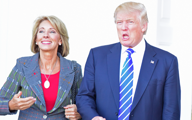 Education Secretary Betsy DeVos and President Donald Trump in November. - SHUTTERSTOCK