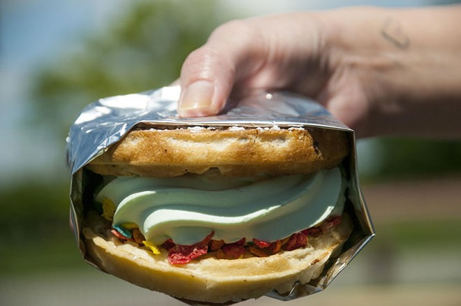 The Waffle sandwich with pistachio custard and Fruity Pebbles at Custard Hut. - TOM PERKINS