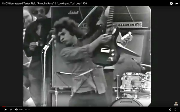 """PHOTO FROM KRAMER'S FACEBOOK, WITH THE CAPTION THAT IT COMES """"FROM ONE OF THE BEST ROCK AND ROLL SHOWS EVER CAPTURED IN DOWNTOWN DETROIT. SOME MIGHT ARGUE, JUST ONE OF THE BEST — EVER. IN THE MIDDLE OF THE AFTERNOON ON A SUNNY JULY DAY, 1970."""""""