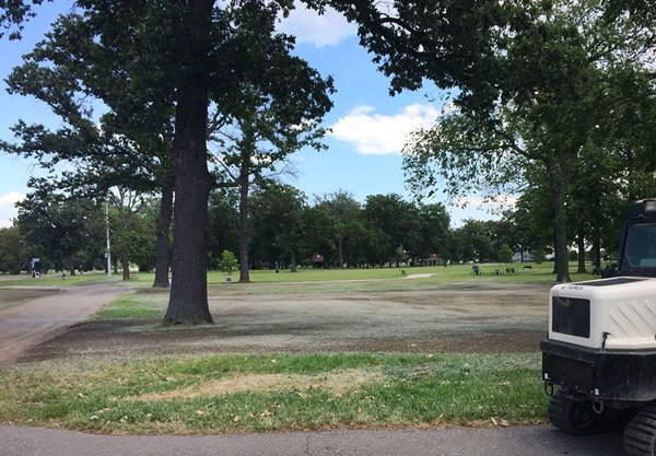 Swaths of grass torn up by the Grand Prix. - PHOTO BY TOM PEKRINS
