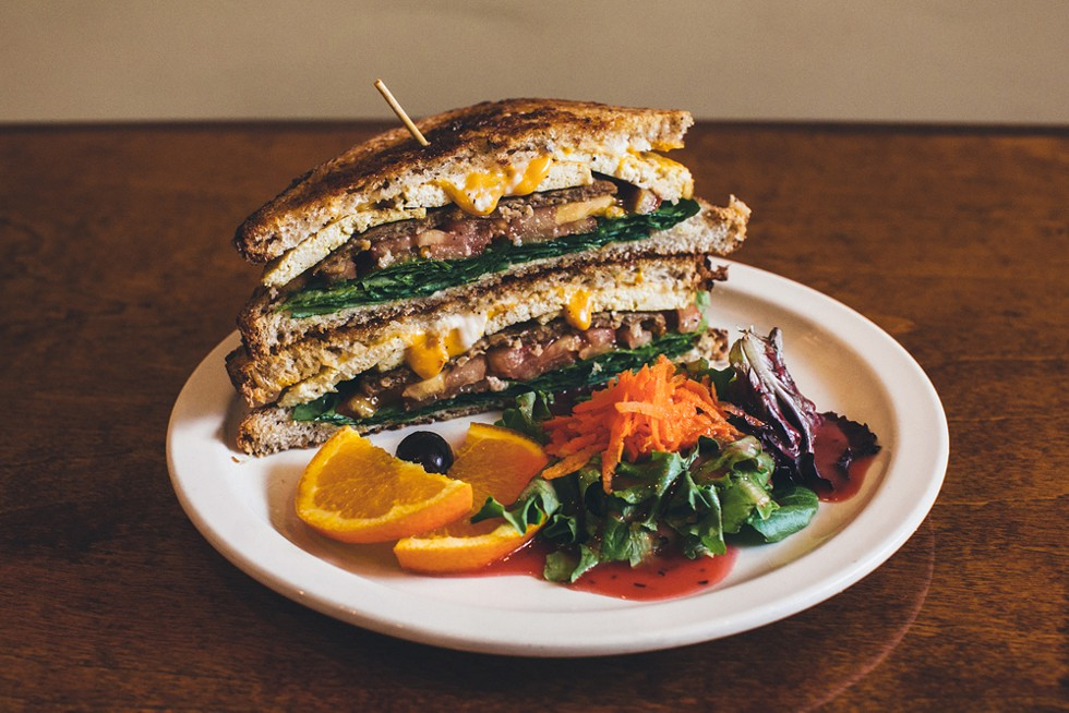 DVS Breakfast Sandwich at Detroit Vegan Soul. - COURTESY OF DVS