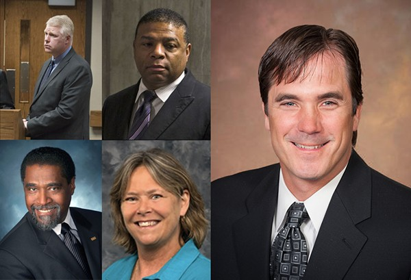 Clockwise from top left: Michigan Department of Environmental Quality water supervisor Stephen Busch, former Flint Water Department manager Howard Croft,  Michigan Department of Health and Human Services Director Nick Lyon, MDHHS Medical Executive Eden Wells, and former Flint Emergency Manager Darnell Earley. All, except Wells, are charged with involuntary manslaughter. - COURTESY PHOTO.