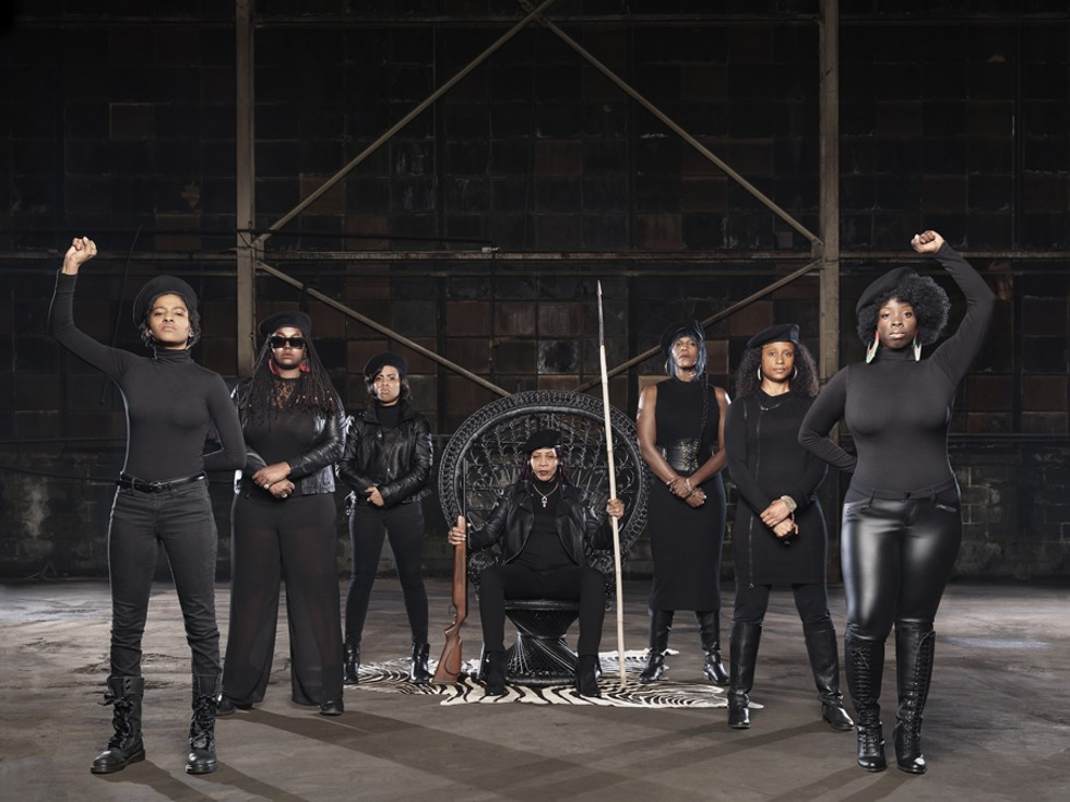 Che, Alexis Allon, Ellie Sandiego, Reddbone, Mahogany Jones, Piper Carter, and Lakia Nicole's Black Panther tribute. - JENNY RISHER