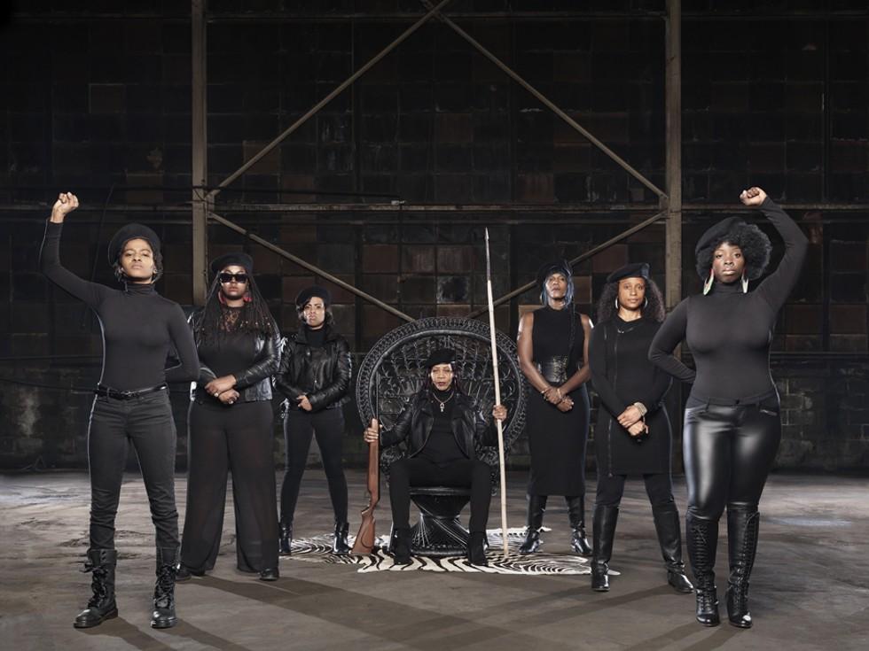 Che, Alexis Allon, Ellie Sandiego, Reddbone, Mahogany Jones, Piper Carter, and Lakia Nicole's Black Panther tribute. - JENNY RISHER