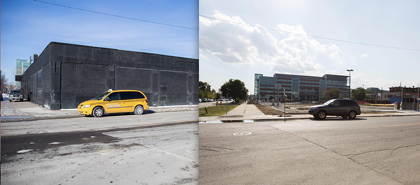 Before and after: Olympia Development's demolition effort around the Little Caesars Arena has so far only made room for more parking lots.