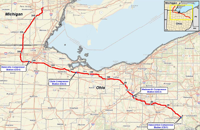 The NEXUS pipeline route. - FERC