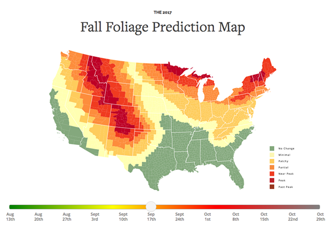 What fall colors will look like by Sept. 17. - SMOKEYMOUNTAINS.COM