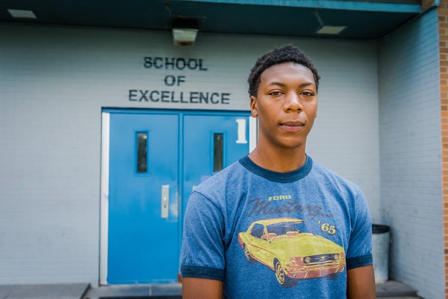 Jamarria Hall stands in front of Osborn High School. - DOUG COOMBE