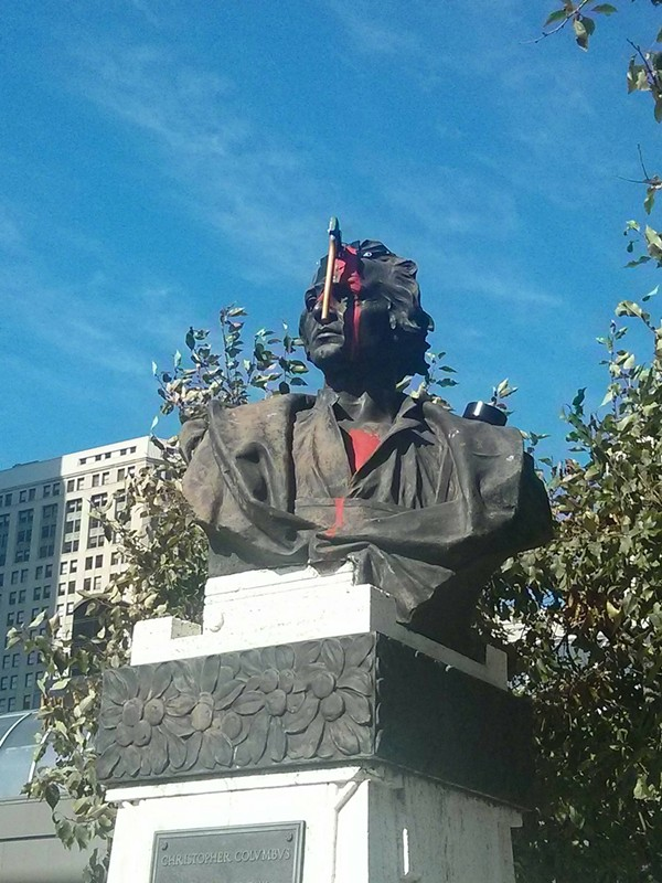 The bust was defaced on Columbus Day 2015. - PHOTO VIA REDDIT USER TOMSEPH.