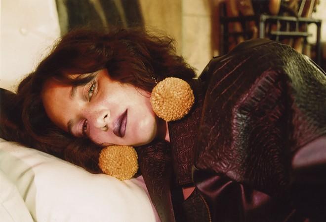 Earrings by Eat Da Rich (eatdarich.com). Leather jacket by First Class Committee (firstclasscommittee.com). - JADE LAUREN
