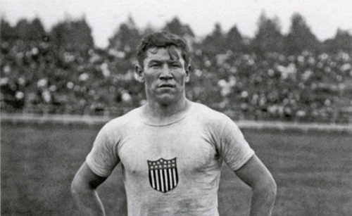"Jim Thorpe in the field uniform of the 1912 U.S. Olympic team. - FROM KATE BUFORD'S BOOK ""NATIVE AMERICAN SON: THE LIFE AND SPORTING LEGEND OF JIM THORPE"""