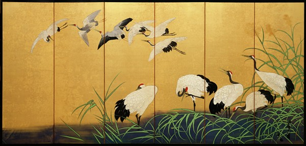 """Reeds and Cranes,"" 19th century, Suzuki Kiitsu, color paint on gilded silk. - DETROIT INSTITUTE OF ARTS"