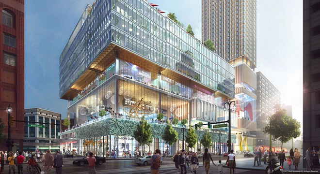 Rendering of Dan Gilbert's proposed development on the site of the former J. L. Hudson Department Store. - COURTESY PHOTO