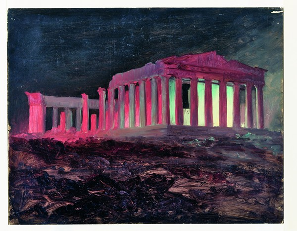 """""""Parthenon at Night, Athens,"""" 1868, Frederic Church, oil and black chalk on paperboard. - """"PARTHENON AT NIGHT, ATHENS,"""" 1868, FREDERIC CHURCH, OIL AND BLACK CHALK ON PAPERBOARD. COOPER HEWITT, SMITHSONIAN DESIGN MUSEUM, NEW YORK. GIFT OF LOUIS P. CHURCH, OL.1917-4-671"""