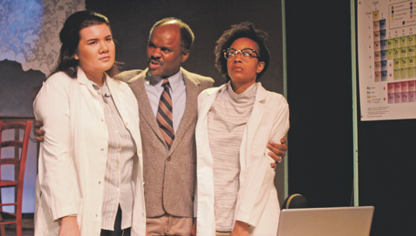 "From left to right: Sambrano, Jordan, and Lovy in ""Swimming Upstream"" at the Rep. - COURTESY DETROIT REPERTORY THEATRE"