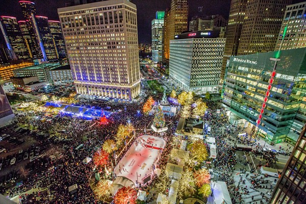 An aerial view of Campus Martius Park during Christmastime. - COURTESY PHOTO
