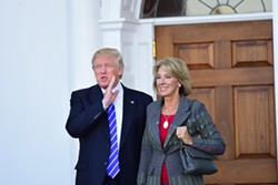 Then President-elect Donald Trump meets with Betsy DeVos at Trump International in Bedminister, New Jersey on Nov. 19, 2016. - COURTESY PHOTO