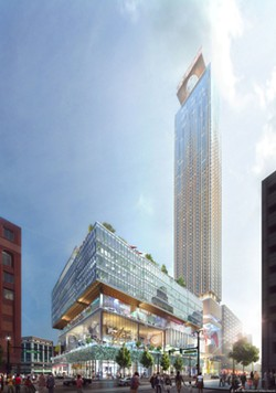 "A rendering of Dan Gilbert's proposed development for the site of the former J.L. Hudson's department store. Through a package of bills colloquially called the ""Gilbert Bills,"" Michigan's richest resident could get up to $1 billion in taxpayer money to fund the project. - COURTESY PHOTO"