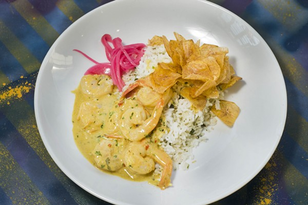 Coconut and curry shrimp scampi. - TOM PERKINS