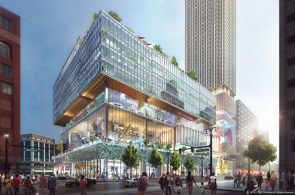 """A rendering of Dan Gilbert's proposed development for the site of the former J.L. Hudson's department store. Through a package of bills colloquially called the """"Gilbert Bills,"""" Michigan's richest resident could get up to $1 billion in taxpayer money to fund the project. - COURTESY PHOTO"""