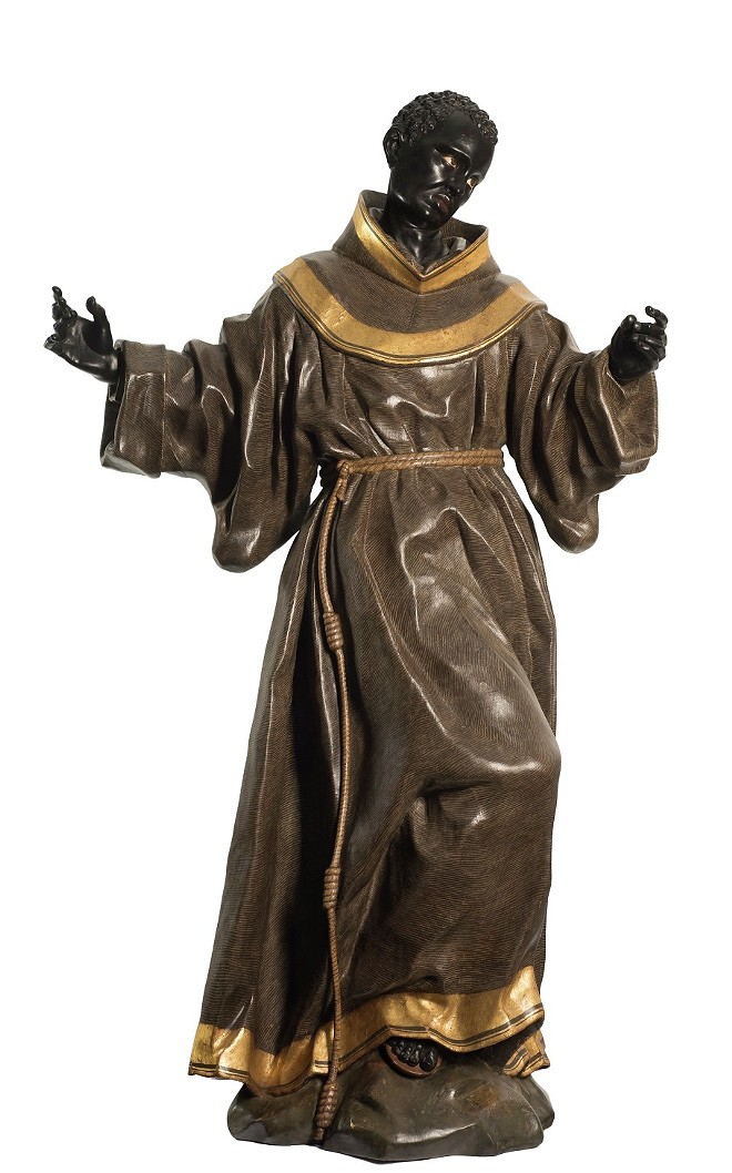 """SAINT BENEDICT OF PALERMO,"" 1770–80, ATTRIBUTED TO JUAN PASCUAL DE MENA, CONIFEROUS WOOD, PIGMENT, GOLD. MUSEUM PURCHASE"