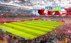 Rendering of Ford Field converted for soccer play. - ROCK VENTURES