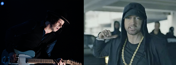 JACK WHITE BY MPH PHOTOS/SHUTTERSTOCK AND EMINEM SCREEN GRAB/YOUTUBE.
