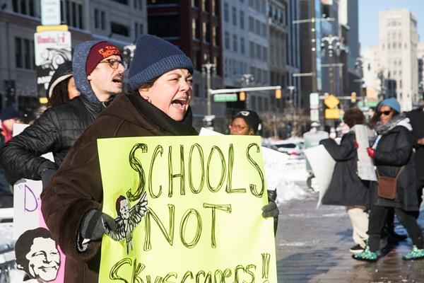 Protestors outside the Hudson site groundbreaking. - JORDAN BUZZY