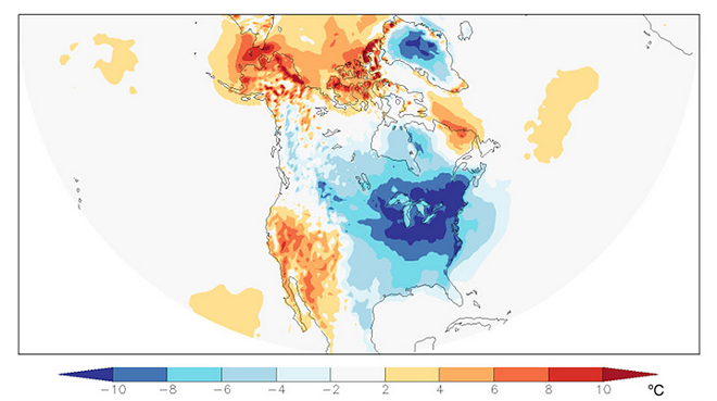 Temperatures in North America averaged over the two-week period December 25, 2017 to January 7, 2018 (ECMWF analyses and forecasts) - CLIMATECENTRAL.ORG