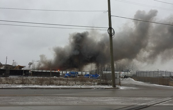 A fire at a scrap yard on Detroit's east side. - VIOLET IKONOMOVA