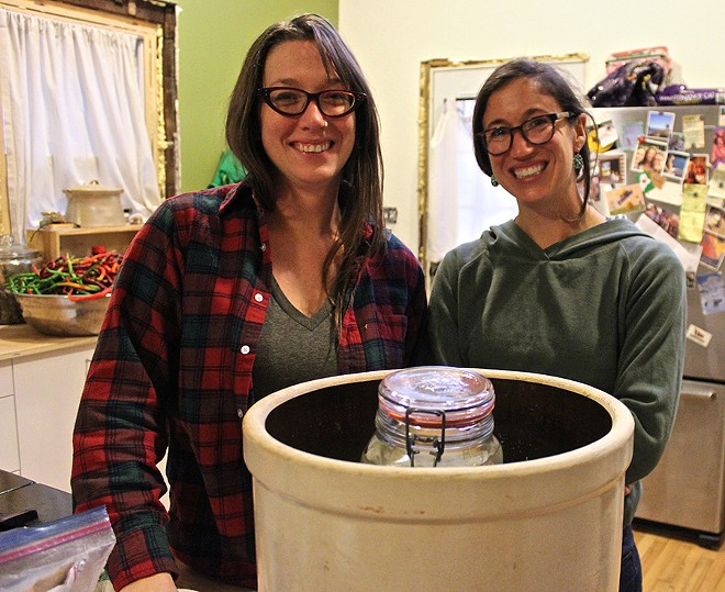 Alison Heeres (left) and Gwen Meyer of Coriander Kitchen and Farm, in the midst of a fermentation frenzy. - SARAH ROSE SHARP