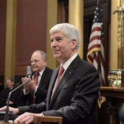 Gov. Rick Snyder delivering one of eight State of the State addresses. - TWITTER, @ONETOUGHNERD