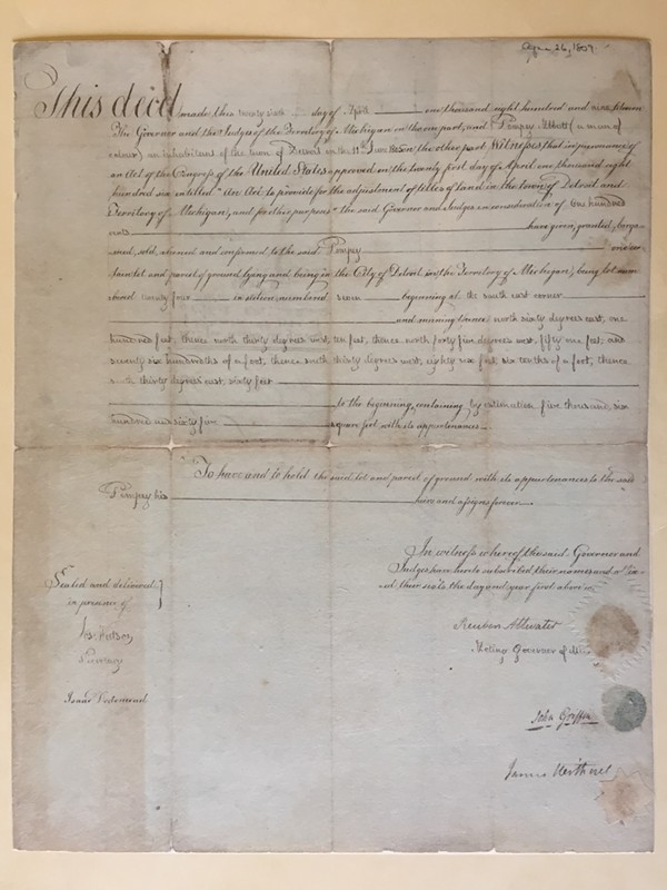 Pompey's deed, signed in 1809.