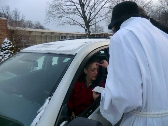 Robed priests will await drivers outside of St. David's Episcopal Church. - COURTESY PHOTO