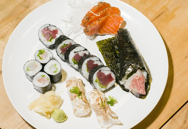 (Counterclockwise from left) Sea bream, yellowfin tuna, steelhead trout, and alfonsino prepared by Dr. Sushi and sourced from Motor City Seafood. - TOM PERKINS