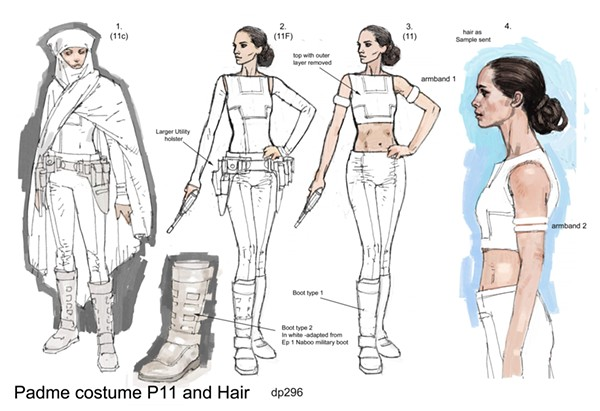 CONCEPT ART, PADMÉ AMIDALA, GEONOSIS ARENA COSTUME. STAR WARS™: ATTACK OF THE CLONES. © & ™ 2018 LUCASFILM LTD. ALL RIGHTS RESERVED. USED UNDER AUTHORIZATION.