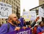 Security guards for Gilbert's buildings launched 1-day strike in downtown Detroit