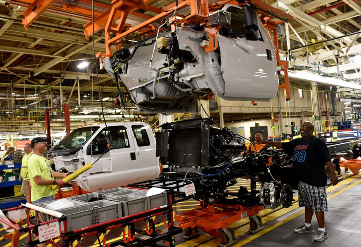 Production of Ford trucks in Avon Lake, Ohio.