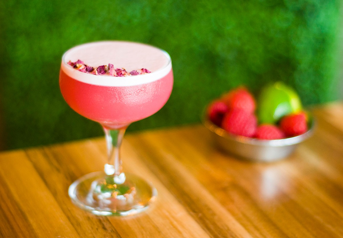 Sakura from Greenspace Cafe, with house-made berry vodka, nigori sake, raspberry shrub, fresh lime, and aquafaba.