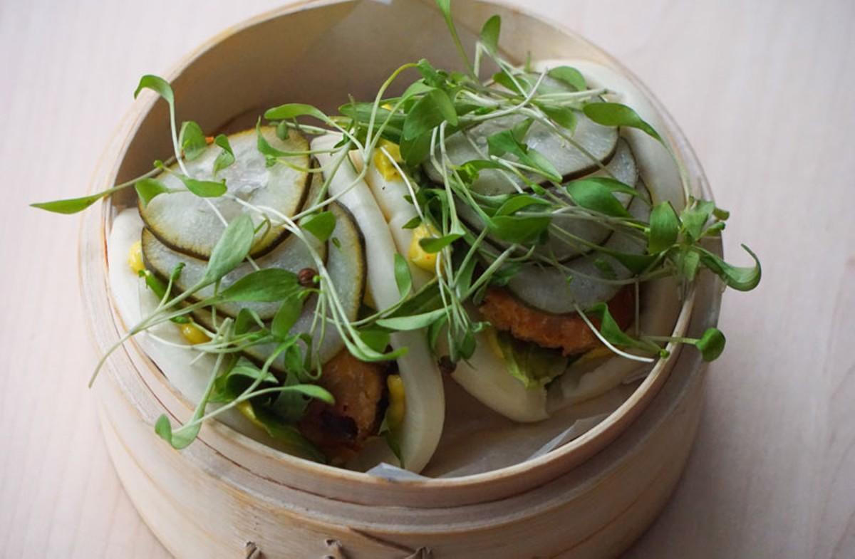 Fried chicken bao bun.