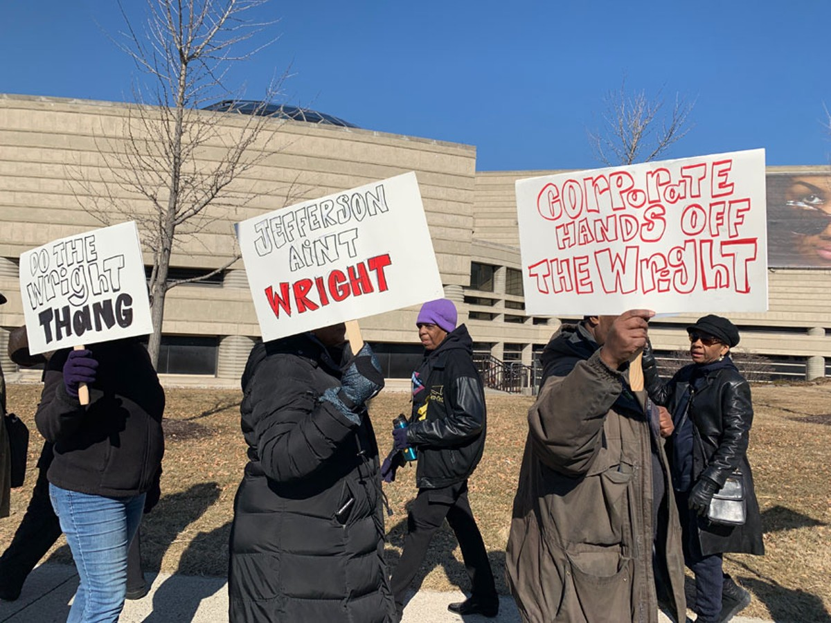 Protesters outside the Charles H. Wright Museum of African American History.