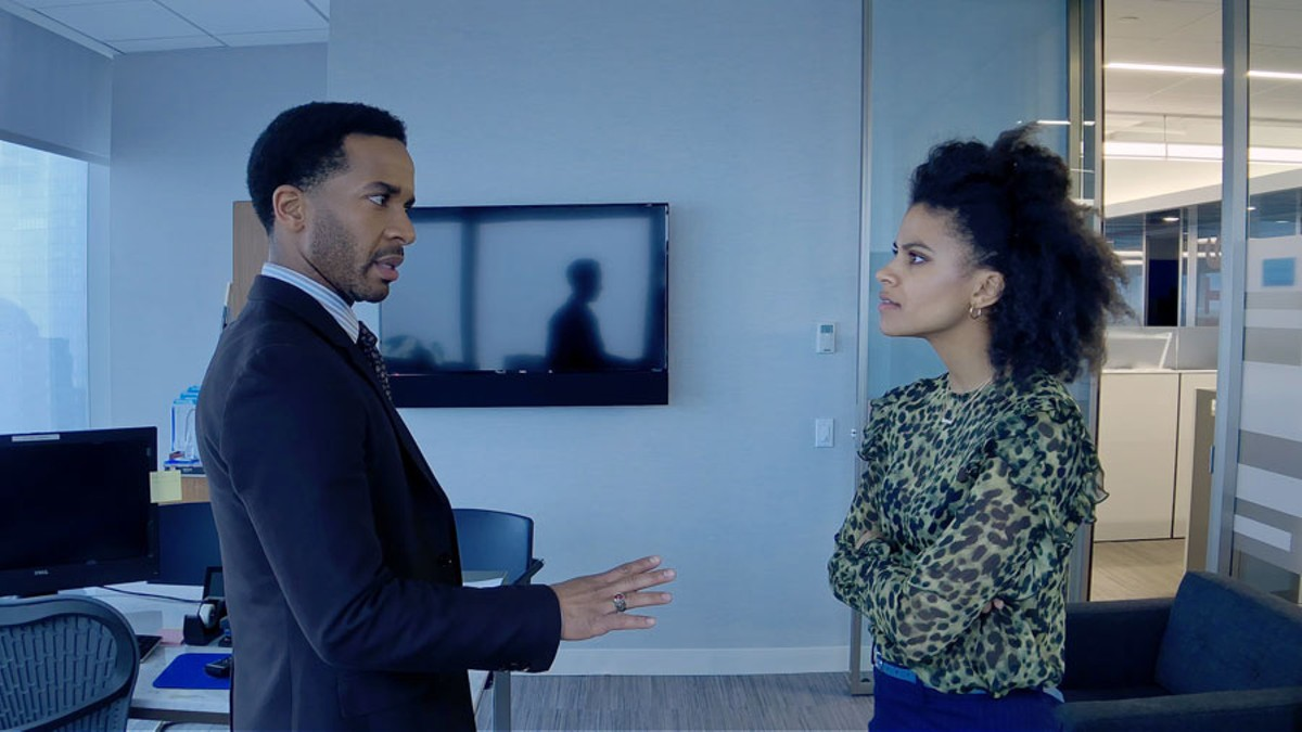 André Holland and Zazie Beetz in High Flying Bird.