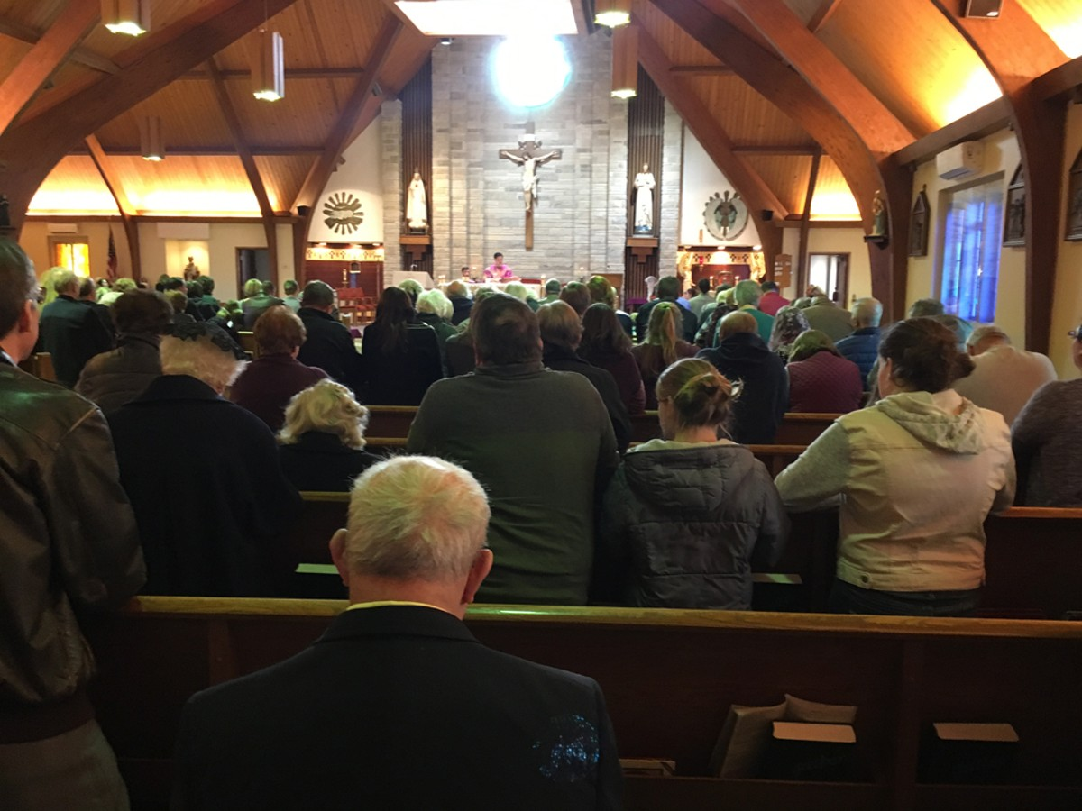 The subject of Metro Times came up during Mass at St. Edward on the Lake Catholic Church.