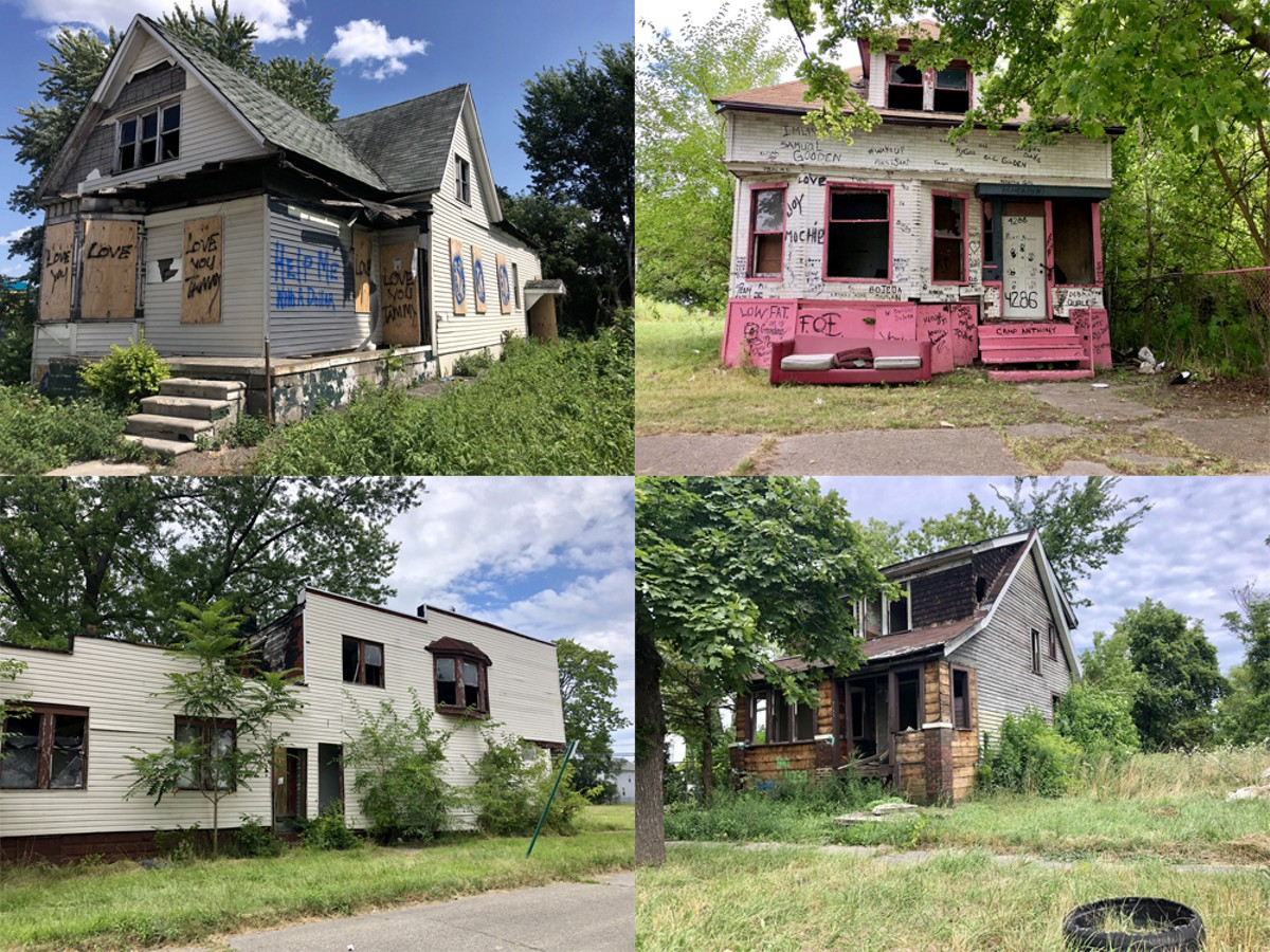 "Upper left: The alleged ""home base"" of a suspected serial killer. Other nearby houses have not yet been boarded up by the city despite Mayor Mike Duggan's pledge to do so by the end of July."