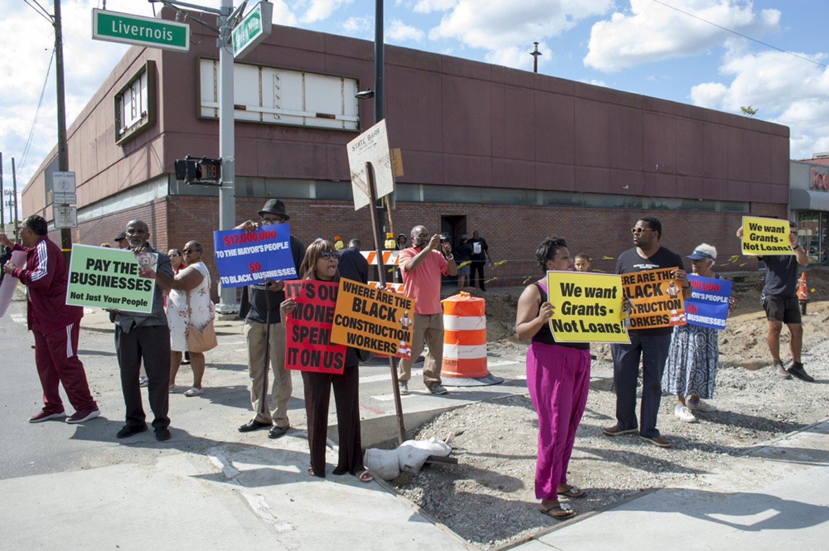Protesters say a construction project on Livernois Avenue is doing more harm than good.